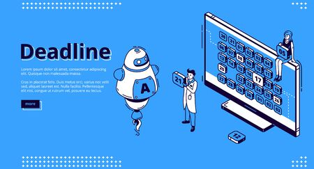 Deadline isometric landing page. Ai robot and business people at huge pc monitor with calendar on screen. Time management and work organization, scheduling concept, 3d vector line art web banner
