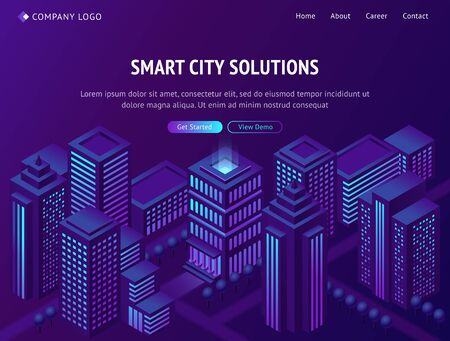 Smart city solutions isometric landing page, futuristic metropolis town with neon glowing skyscrapers, smartcity futuristic buildings, streets on purple background. 3d vector illustration, web banner Illustration