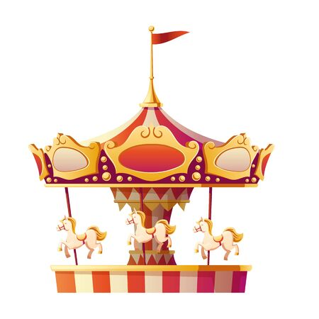 Carousel merry go round with horses isolated on white background. Amusement carnival park, fair entertainment and family recreation vintage object, party. Cartoon vector illustration, icon, clip art Illustration