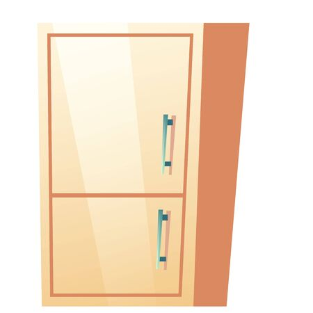 Bathroom cabinet with closed door. Vector fridge with freezer for kitchen. Cartoon illustration of refrigerator for storage drink and fresh food. Flat icon of closet isolated on white background