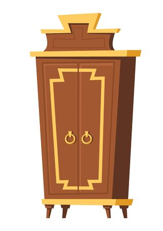 Bedroom furniture, vintage wardrobe cartoon vector illustration. Element for retro living room interior, old wooden closet with closed doors, room accessory isolated on white