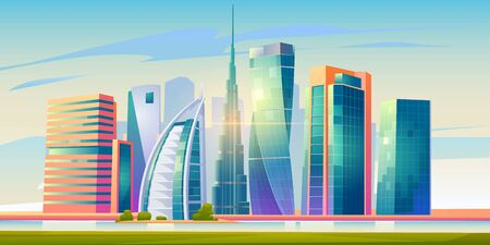 FEBRUARY 14, 2020. Cartoon vector illustration Burj Khalifa, Burj al Arab, Cayan Tower buildings, Dubai landscape, UAE world famous architecture landmarks, United Arab Emirates