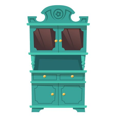 Kitchen cupboard in baroque style with shelves and glass doors. Vector vintage green cabinet, furniture for storage and display crockery isolated on white background. Empty provence sideboard