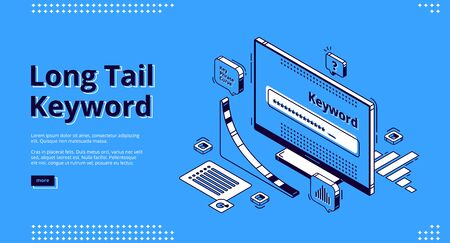 Long tail keyword isometric landing page. Seo research tool curve graph and browser on pc desktop computer monitor. Engine optimization, analysis service 3d vector illustration, web banner, line art 일러스트