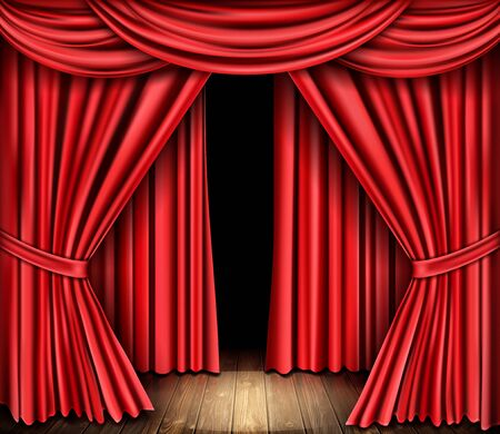 Red stage curtain and wooden floor. Theater, opera scene drape backdrop, concert grand opening or cinema premiere backstage, portiere for ceremony performance template realistic 3d vector illustration Ilustración de vector