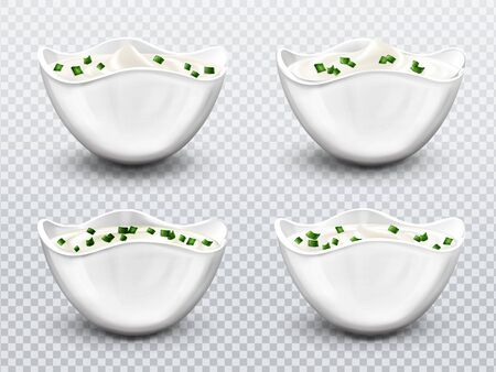 Bowl with sauce, cream, mayonnaise or yogurt with sliced green onions set. Isolated white ceramics cups with fresh dairy product, creamy cheese, sour or sweet mousse with swirl, realistic 3d vector Ilustração
