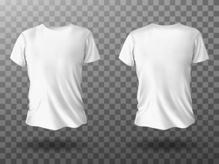 White t-shirt mockup, male t shirt with short sleeves vector template front back view. Blank apparel design for men, sportswear, casual clothing isolated on transparent background realistic 3d mock up Ilustração
