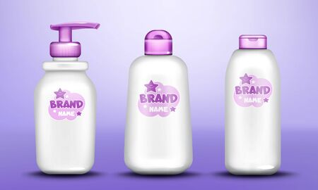 Baby cosmetic package design set realistic vector. White dispenser bottles for gel or liquid soap, lotion, milk or oil and cream, talcum powder tube with purple cap, cute label, isolated on background