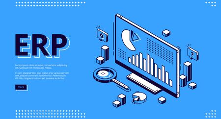 ERP, enterprise resource planning isometric landing page. Productivity and improvement system, data analysis charts on pc monitor, business integration 3d vector illustration, web banner, line art