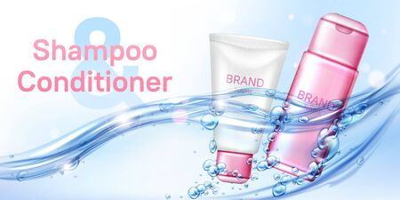 Cosmetic moisturizing beauty product shampoo and conditioner in water flow realistic vector poster. Pink white tube, bottle for female cosmetics floating in sparkling water with bubbles, lens flare Illustration