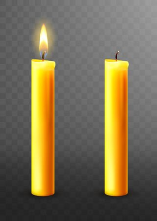Burning candle, realistic vector illustration. Yellow candles with golden flame lit and extinguished isolated on transparent. Church Christmas collection Vector Illustration