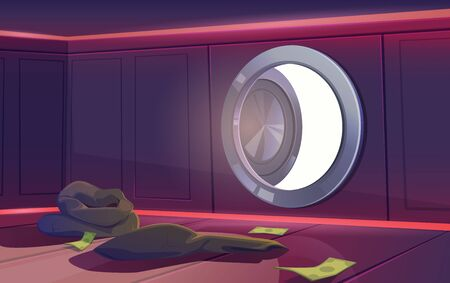 Bank vault room with open door, some dollar banknotes and empty sacks lying on floor, sun light falling into inner safe area, view from inside. Robbery or economics crisis Cartoon vector illustration