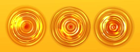Orange juice or beer ripple top view. Round wavy texture on yellow background, puddle, circular liquid flow. Design elements for beverages or shampoo advertisement, Realistic 3d vector illustration Ilustrace
