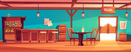 Western saloon interior with table, bar counter, alcohol bottles on shelves. Vector cartoon illustration of wild west tavern for cowboys with wooden doors, barrels and drink on desk