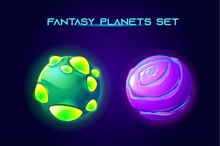 Fantasy space planets for ui galaxy game. Vector cartoon icons set of magic alien world, fantastic cosmic objects with stones, liquid core, holes and spiral. Fantastic astronomy collection