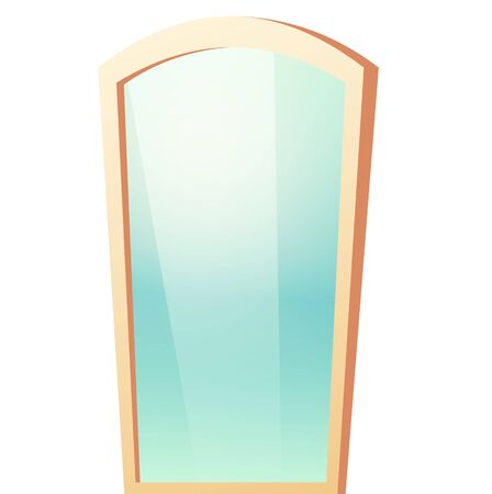 Vector mirror in beige plastic frame with reflective surface isolated on white background. Vector cartoon illustration of bath or dressing room furniture, glass mirror with rounded top