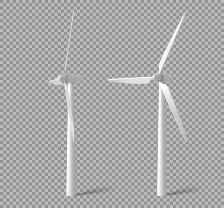 Wind turbines, windmills energy power generators front and side view. White towers with long vanes for producing alternative eco energy isolated on transparent background. Realistic 3d vector mock up