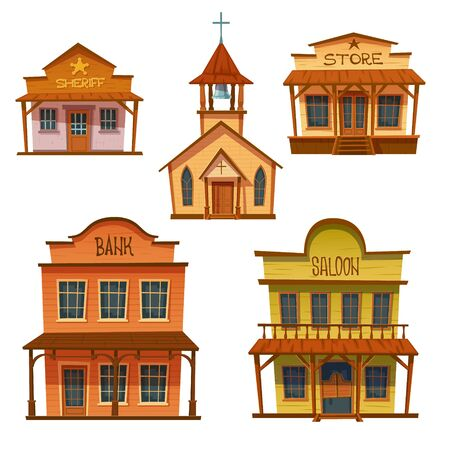 Wild west buildings set. Church, saloon, bank, sheriff and store wooden traditional western architecture isolated on white background. House exterior, cowboy style design, Cartoon vector clip art