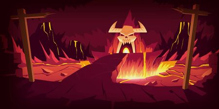 Hell landscape, cartoon vector illustration. Infernal stone cave and bridge, road to hell with heat rock and volcanoes, flowing molten lava or liquid fire and horned skull, fiery game background