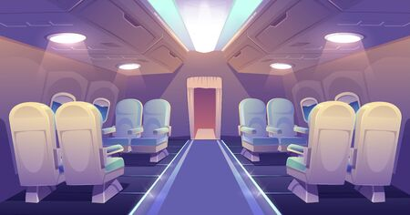 Business class in plane empty interior. Private jet or luxury airplane cabin inside view with comfortable seats. Illuminated salon aisle with chairs for vip persons travel, Cartoon vector illustration