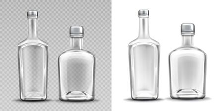 Two empty glass bottles for alcohol. Vector set of realistic clear whiskey, gin, tequila or brandy bottles with metal caps isolated on transparent and white background Vettoriali