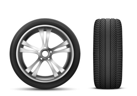 Vector car wheel isolated on white background front and side view. Realistic 3d icon of modern black rubber tire with steel disk for automobile service, sport rally advertising