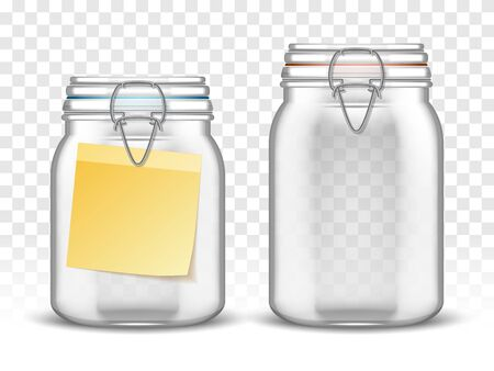 Glass bale jars with paper note, realistic vector illustration. Empty closed transparent mason bottle with swing top lid and yellow blank sticker label for message. Isolated container for home canning