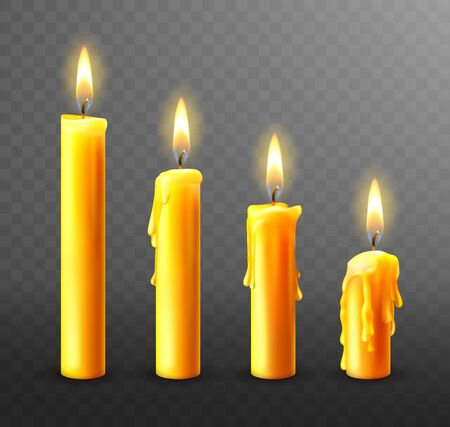 Burning candle with dripping or flowing wax, realistic vector illustration. Yellow candles with golden flame lit and melted wax isolated on transparent background. Church or Christmas collection