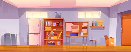 Garage interior with equipment for carpentry and repair works. Vector cartoon illustration of workshop or storeroom with construction tools, table, shelves with instruments and old refrigerator