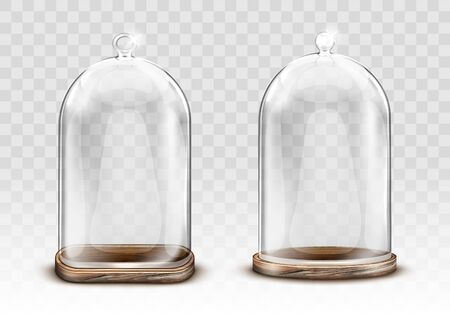 Vintage glass dome and old wooden tray realistic vector. Retro transparent glass dome square shape with knob handle, storage container, product presentation case with reflection, isolated illustration Illustration