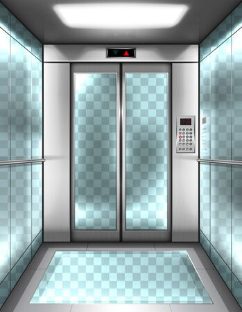 Empty glass elevator cabin with transparent walls, floor and closed doors. Vector realistic interior of passenger lift with buttons panel and digital display with arrows up and down in office building
