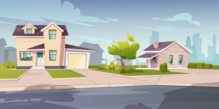 Suburban cottages, residential house with garage. Vector cartoon illustration of village mansions facade. Summer countryside landscape of with private buildings and town silhouettes on background Banque d'images - 148177870