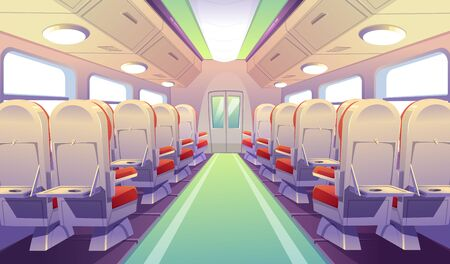 Empty bus, train or airplane interior with chairs and folding back seat tables. Vector cartoon cabin of passenger carriage transport with comfortable seats and foldable tray desk
