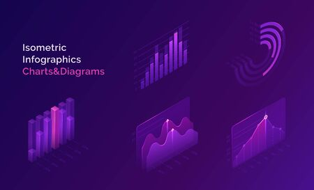 Isometric infographics charts and diagrams, 3d data analysis columns, infographic vector elements, financial information datum statistic. Template for business presentation, report or web site design