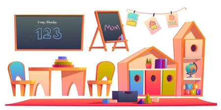 Room interior in montessori kindergarten with books on shelf, chalkboards, desk with chairs. Vector cartoon set of furniture in classroom, kids paintings and toy blocks isolated on white background Illustration