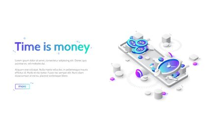 Time and money balance on scale. Time is money business concept. Vector landing page of comparison work and value, financial profit. Isometric icons of coins and watch on seesaw Иллюстрация