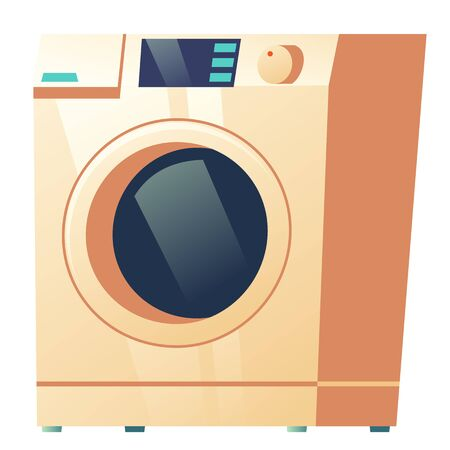 Washing machine front view isolated on white background, modern laundry equipment for wash dirty clothes, electrical device for household duties, design element, cartoon vector illustration, clip art
