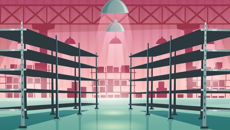 Warehouse interior with empty metal racks. Vector cartoon illustration of storage room interior with shelves for stock, cargo, goods. Storehouse in store, garage, market Illustration