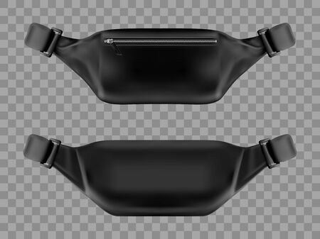 Waist bag, belt pouch mockup. Modern black fanny pack with zipper pocket front and back view isolated on transparent background. Fashion and sport male accessory, realistic 3d vector icon, mock up