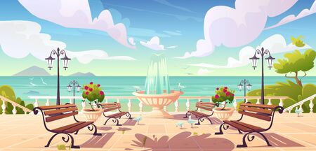 Summer seafront with fountain, benches and vintage fence. Vector cartoon sea landscape with quay, empty ocean promenade with decorative trees, street lamps and gulls Vettoriali