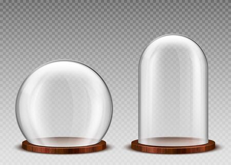 Glass dome, transparent plastic bell jar on wooden podium. Vector realistic mockup of empty protection cover, clear acrylic exhibition display case isolated on transparent background