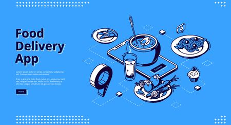 Food delivery app isometric landing page. Mobile online service for order meals, smartphone with plate on screen and gps pinpoint on application map, 3d vector illustration, line art, web banner
