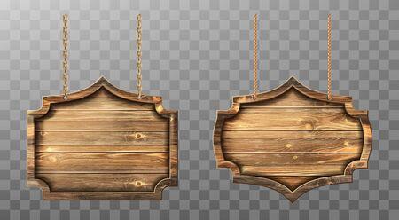Wooden boards hang on ropes vector set. Realistic signboards with wood texture, banners or labels for bar or saloon in rustic style. Blank vintage plank panels for menu or pub entrance 3d illustration Illustration