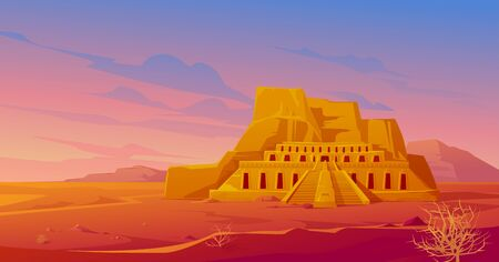 Egypt mortuary temple of queen Hatshepsut in Deir al-Bahri, world famous Egyptian landmark in desert landscape with tumbleweeds. Tourist attraction architecture building, Cartoon vector illustration