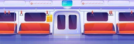Subway train car inside. Empty metro wagon interior. Vector cartoon illustration of underground railway carriage with closed doors, comfortable passenger seats and handrails. City public transport Ilustracje wektorowe