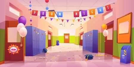 School hall after prom night celebration. Empty college corridor interior with balloons, garlands on students lockers, confetti and academic hats scattered on tiled floor. Cartoon vector illustration 矢量图像