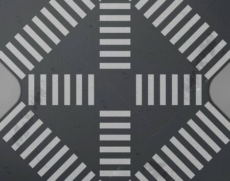 Road intersection with crosswalk top view. Vector realistic background with white zebra lines road marking on black asphalt and tiled sidewalk. City street crossing with pedestrian junction