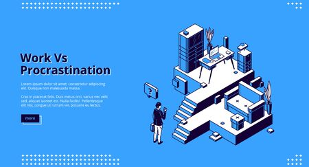 Work vs procrastination isometric landing page. Businessman choose between workplace with desk, laptop and working files or comfortable couch in living room. 3d vector concept, line art web banner Vektorové ilustrace
