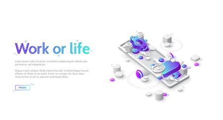 Work or life balance isometric landing page. Heart and gears lying on scales. Choice between job or house, career or family, business or love, finace stability and soul peace, 3d vector web banner Иллюстрация