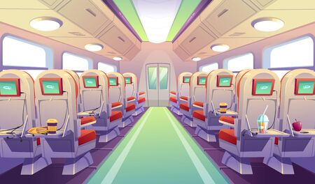 Empty bus, train or airplane interior with chairs and folding back seat tables. Vector cartoon cabin of passenger carriage transport, seats with digital display, food and drink on foldable tray desk